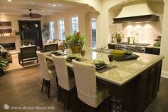 open kitchen and living room Amanda this is size island you should get