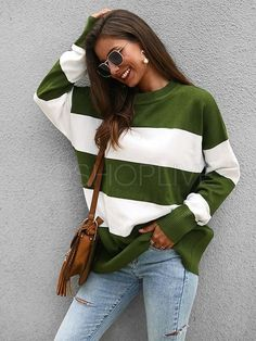 Striped Knit Sweater Sizes: S - XL Color: Green/White Stripes Long Sleeve Loose Fit Crew Neck Polyester Casual Sweaters, Sweaters For Women, Knit Sweaters, Loose Sweater, Striped Knit, Sweater Fashion, Types Of Sleeves, Rib Knit, Jumper