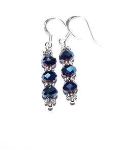Blue rainbow bead earrings by GypsyMoonsCreations on Etsy, $7.00