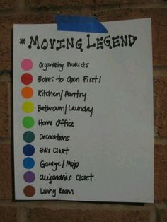 I want to do this and have colored paper on the doors to the room so we and the movers know where to drop stuff without thinking