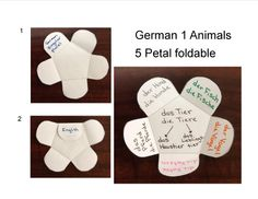 German I (A1) animals 5 petal foldable  no link but the picture is self explanatory