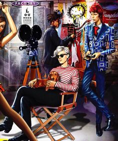 Andy  Warhol with David Bowie  Jean  Michel  illustration
