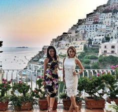 With my travel partner in crime #jeanniemai. Both rocking #yumikim. #ykmyway in #Positano