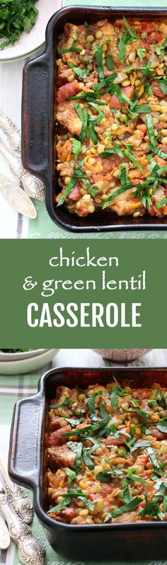This chicken and green lentil casserole is a comforting, flavorful, and protein-rich main dish. Just place all the ingredients into a baking dish and let the oven do its magic. #chicken #recipe #lentils #maindish #glutenfree #mealprep #realfood #dinner