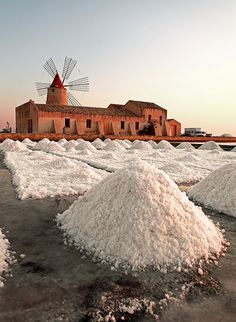 Salt of Marsala, Sicily, Italy.  Marsala is an Italian town located in the Province of Trapani in the westernmost part of Sicily. Marsala is the most populous town in Trapani, and the fifth-highest in Sicily.