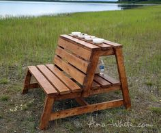 Ana White | Build a Firepit Benches with Table and Storage | Free and Easy DIY Project and Furniture Plans