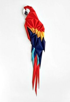 Macaw by Anna Trundle. This one is such a beauty, a paper sculpture made of different irregular shap… – Origami World Origami Design, Diy Origami, Origami Star Box, Origami Paper Art, Origami Tutorial, Paper Crafting, Origami Folding, Paper Quilling, Architecture Origami