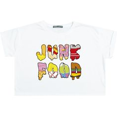 Junk Food Crop Top T Shirt Tee Womens Girl Funny Fun Tumblr Hipster... ($15) ❤ liked on Polyvore featuring tops, t-shirts, black, sweater vests, sweaters, women's clothing, loose crop tee, punk t shirts, crop tee and loose fitting t shirts