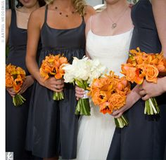 Another neutral dress + bright flowers example. Nice work matching the style of the gown to style of the maids dresses.