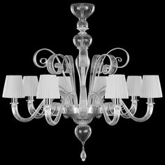 Chandelier Sconces - Pastorale - Murano Glass Pastorale Chandeliers Collection Available with 8 or 12 lights Glass Chandelier, Murano Glass, Venetian Glass, Glass, Venetian Mirrors, Murano Glass Chandelier, Glass Mirror, Chandelier, Glass Light Fixture