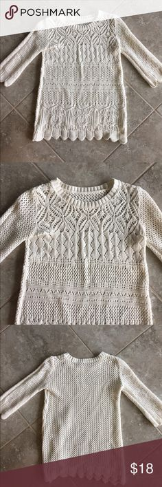 """Cream knit sweater top Cream knit sweater top, purchased at a boutique. One Size but fits best on size small or XS. No stains or holes. Approximate measurements: bust 30-31"""", waist 28-29"""", length 22"""", sleeve from shoulder to end of sleeve 17"""", armpit to sleeve 10"""". Sweaters Crew & Scoop Necks"""