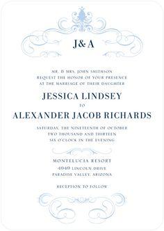 Haute Heraldry - Classy Frame Wedding Invitations in Black, Blue, Purple and More