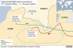 Map of purported flight path of Russian Su-24 shot down by Turkish military on 24 November 2015 according to Russian and Turkish militaries