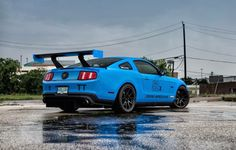 Need a cure for the Monday blues? Anthony's Grabber Blue #Mustang GT competes in the NASA's TT2 time trial class. It's powered by a 430whp Coyote 5.0 equipped with Kooks headers and Magnaflow exhaust and rides on UPR Products suspension, BC Racing coilovers, Pirelli racing slicks, and 18x10.5 (square fitment) #Forgeline one piece forged #monoblock #GS1R wheels finished in Gloss Black! See more at: http://www.forgeline.com/customer_gallery_view.php?cvk=1855 #Ford