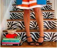 Zebra Steps - Orange Stripes - Domino
