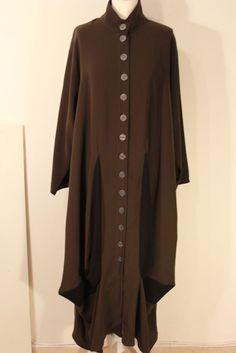 Kedem Sasson coat minimalist  long dark brown black details one size #KedemSasson #BasicJacket