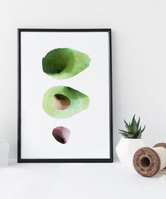 Avocado kitchen wall art print fruit vegetable от WhiteDoePrints