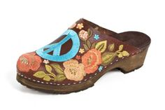 Embroider Brown Leather Clogs Turquoise Peace symbol and colorful flowers