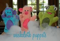 These washcloth puppets are SUPER easy to make. Using 2 matching washcloths, trace around your hand, cut out, and sew. Add facial features. This is a great way to add fun to a child's bathtime!