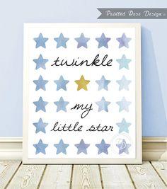 Art Print - Blue Baby Boy Twinkle My Little Star Nursery Baby's Room Digital Printable Décor Wall Art Shower Gift 8 x 10