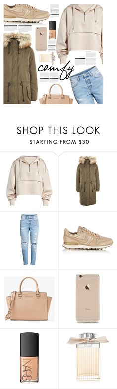 """ootd 001"" by earendil-xx ❤ liked on Polyvore featuring Ivy Park, Topshop, H&M, NIKE, Michael Kors, NARS Cosmetics, BoConcept, Chloé and ootd"