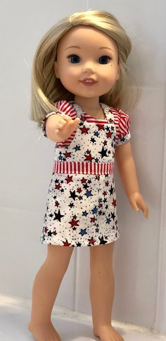 Items similar to 14 Inch Doll Patriotic Star Overall Dress and Striped Blouse For Girls Dolls Such as Wellie Wishers on Etsy American Girl Outfits, Ag Doll Clothes, Doll Clothes Patterns, American Girl Wellie Wishers, Dolly Fashion, Wellie Wishers Dolls, Star Wars, How To Make Clothes, Overall Dress
