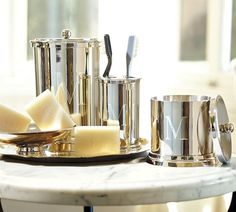 Silver-Plated Monogrammable Bath Accessories (Guest Baths)
