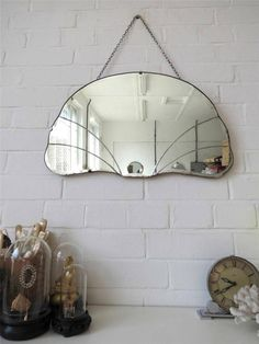 Vintage Bevelled Edge Wall Mirror Art Deco Beveled Edge Mirror Lovely Shape WOW by uulipolli on Etsy