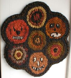 Primitive Hooked Rug Halloween Candle Mat