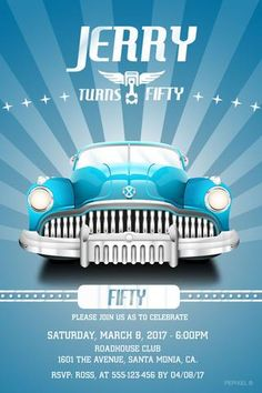 Ideas Vintage Cars Party Adult For 2019 60th Birthday Party Invitations, 65th Birthday, Adult Birthday Party, Cars Birthday Parties, 50th Party, Male Birthday, Teen Birthday, Vintage Car Party, Vintage Cars