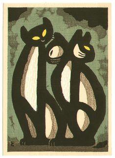 Have this hanging on my wall.  Inagaki Tomoo: Friendly Cats - Artelino -  Ukiyo-e