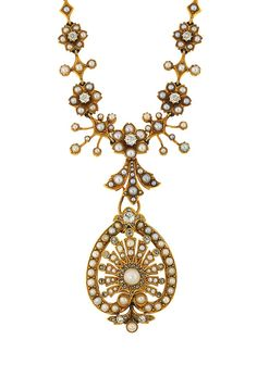 Necklace Collection : A late century half-pearl and diamond pendant necklace The central half-pe Old Jewelry, Pearl Jewelry, Jewelry Art, Antique Jewelry, Vintage Jewelry, Fine Jewelry, Jewelry Necklaces, Bracelets, Pearl And Diamond Necklace