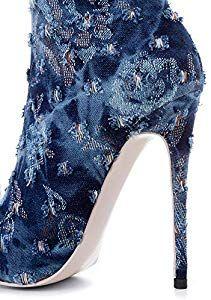 5a404b7f8b1c YE Longue Bottes Cuissardes Hautes Sexy Femme Stiletto Boots en Jean Bout  Pointu Talon Aiguille avec Fourrure Chaudes Hiver Shoes Winter Women   Amazon.fr  ...