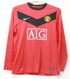 96dbf2673cb Men s Nike Fit Dry Manchester United Soccer Long Sleeve Shirt Red Size  Medium