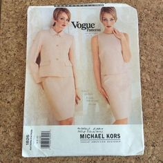 This Michael Kors Vogue American Designer pattern 1826 is for a loose-fitting, fully-interfaced, lined, above hip jacket with collar, collar band, slightly extended shoulders, shoulder pads, side panels, no side seams, flaps, welts, pockets and long, two-piece sleeves. Close-fitting, lined, sleeveless top has princess seams and back zipper. Semi-fitted, lined, straight skirt, above mid-knee, has contour waist and back zipper/slit. May be adjusted to Petite sizes.