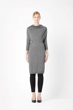 Draped neck knit dress