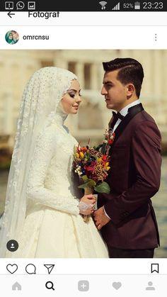 Muslim Wedding Gown, Hijabi Wedding, Wedding Hijab Styles, Muslimah Wedding Dress, Muslim Wedding Dresses, Muslim Brides, Wedding Gowns, Wedding Cakes, Bridal Hijab