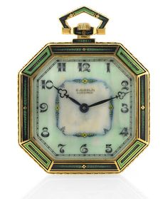 Art Deco, octagonal dress watch / pendant watch made by VACHERON CONSTANTIN for Gübelin, designed from alternating patterns of green (with a bit of red) enamel with engraved gold, in 18K yellow gold, having a hand painted ivory dial, circa 1930.