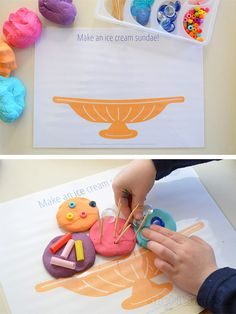 Several food related playdough mats.  Fun Food! Free Printable Play Dough Mats (They make great place mats too!)