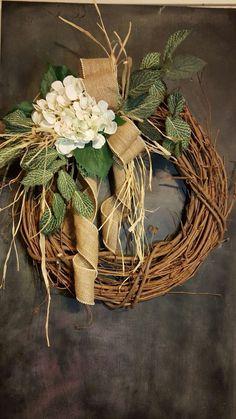 Hydrangea Front door wreath. Etsy shop FarmHouseFloraLs stefanyusa