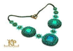 Green energy Bead embroidery necklace Dichroic by KatrinPodra