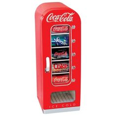This Coca-Cola CVF18 retro vending refrigerator features a 0.6 cu. ft. capacity that lets you store up to ten 12-oz. cans for quick access to your favorite drinks. Analog controls simplify operation, and a thermoelectric module ensures efficient cooling.