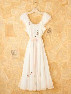Vintage Rose Slip Dress w/ Rose Embroidery