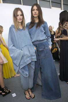 backstage photos of Chloé at Paris Fashion Week Spring 2015. Oh hey denim queens!