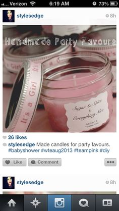 Prize idea: Sugar & Spice candle  Baby Shower Favor