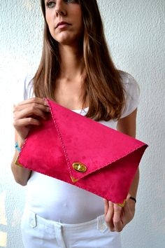FUCHSIA handmade leather clutch / Pink- Fuchsia suede leather on Etsy, $98.00
