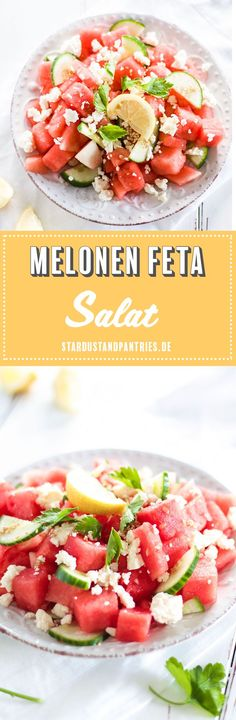 Erfrischender vegetarischer Melonen Feta Salat mit Gurke und Sesam sorgt für ein leichtes und gesundes Essen bei hohen Temperaturen! #Melonensalat #Melone #Salat