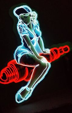 Spark Plug Betty Neon-Style Pin-Up Sign by SignScience on Etsy