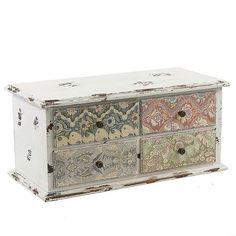 Mobiletto cassettiera 4 cassetti in legno decorato shabby chic ( Cod. 62-JA208)