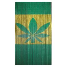 Hemp Leaf is a 90 strand 90 x beaded door curtain featuring a depiction of a hemp leaf on a colour-blocked background.